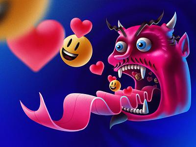 Social Devil emoji devil socialmedia design drawing illustrator illustration art illustration digital painting digitalart