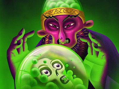 The Fortune fortune teller skull colorful illustrator illustration design illustration art drawing digital painting digitalart