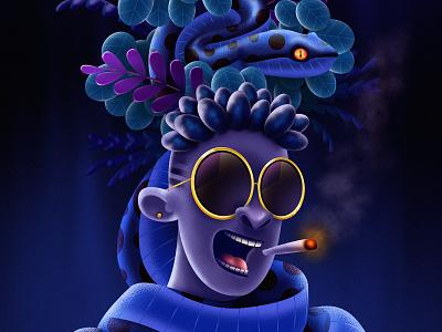 The Jungle sunglasses floral plants snake colorful illustrator illustration design illustration art drawing digital painting digitalart
