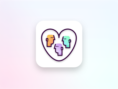 Support network app user interface design 005 dailyui mobile app support network app icon ui gradients people heart