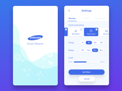 Washing machine settings user interface bubbles settings washing samsung dailyui 007