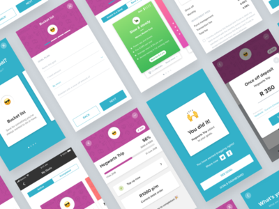 Goal oriented savings app 22seven fun colourful emojis fintech app mobile investing savings goals