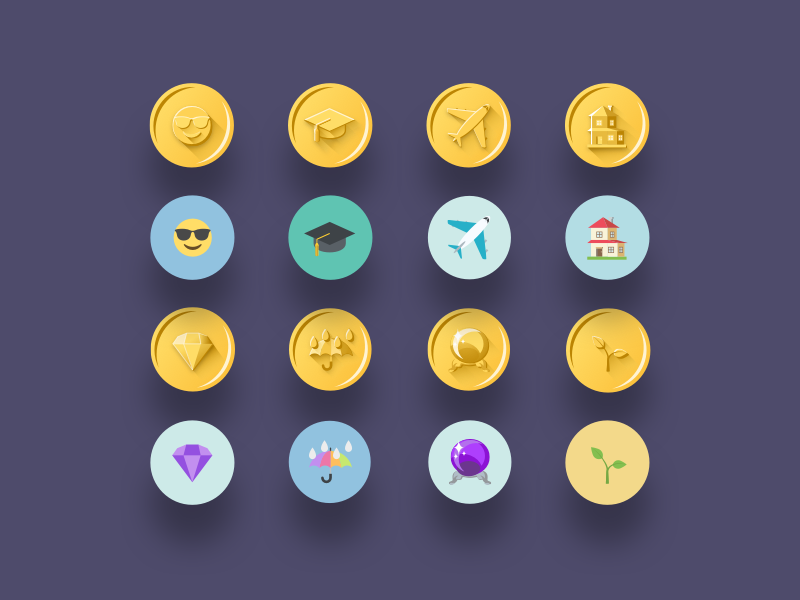 Gold emoji badges