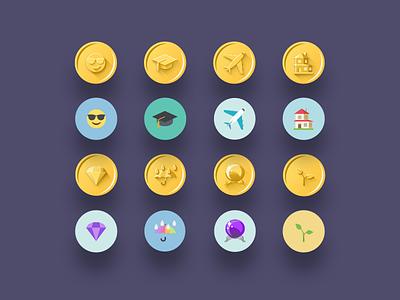 Gold emoji badges / medals principle ui savings goals badges investments holiday education icons emoji medals gamification