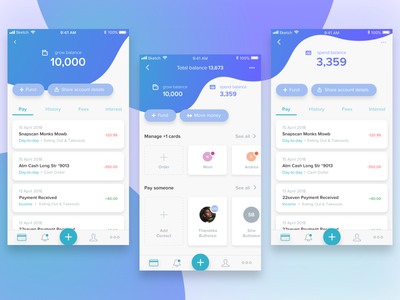Payment app transactions fluid iphone move money manage cards gradients product design ui user interface design payments wallet sketch