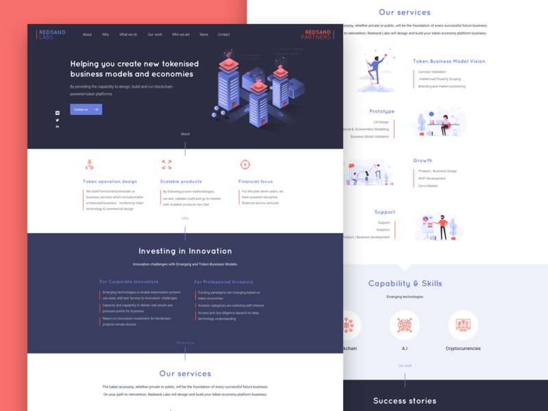 Landing Page for Redsand Labs sketch anima launchpad fin tech token block chain tokenised ui ux homepage lapa web landing page