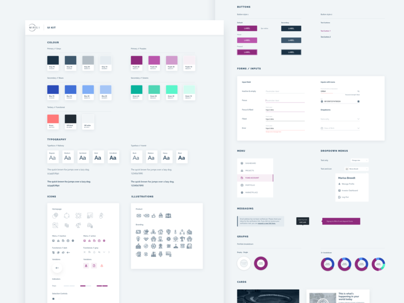 Simple UI Kit buttons iconography input fields typography colours investment platform platform brand guide styleguide mirisx uidesign uikit