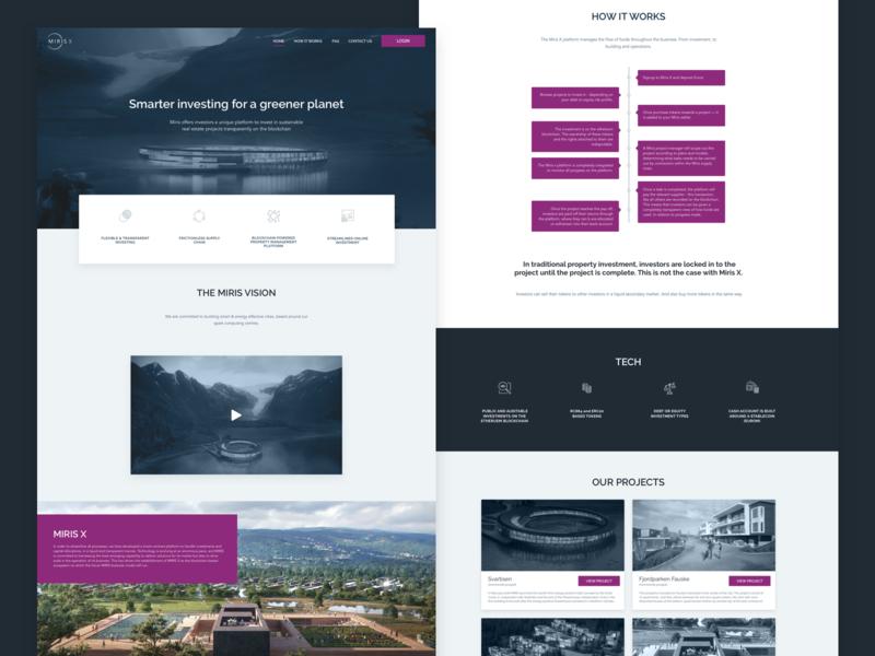 Miris X Landing Page real-estate user-interface ui blockchain investment lapa landing page