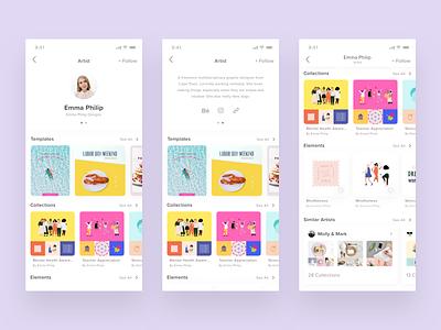 Artist Profile content design artist follow shelves horizontal scroll graphics templates social links bio data profile app user-interface ui