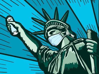 Lady Liberty - The New Norm i❤️ny face mask statue of liberty ny art illustration