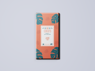 Coco's Organic Dark Chocolate Bar / Label Design (Concept) typography creative color vector branding label packaging candy bar graphic design illustrator illustration package design