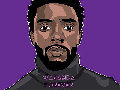 Chadwick Boseman portrait creative vector color adobe adobeillustrator drawing illustrator art illustration