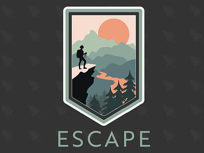 Hiking Badge color escape creative vector adobeillustrator illustrator art illustration badge design badge