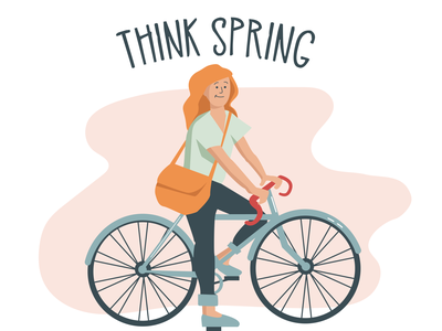 Spring Time Bike Ride marketing art flat illustration flatart creative vector color adobeillustrator drawing illustrator art illustration