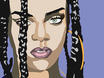 Rihanna adobeillustrator art portrait drawing rihanna adobe illustration
