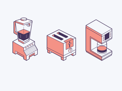 Isometric drawings of kitchen appliances