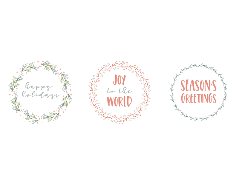 Holiday Wreath Stickers fonts pattern brush vector art drawing illustration illustrator brushes holiday design