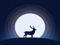 Silhouette of Deer by Moon