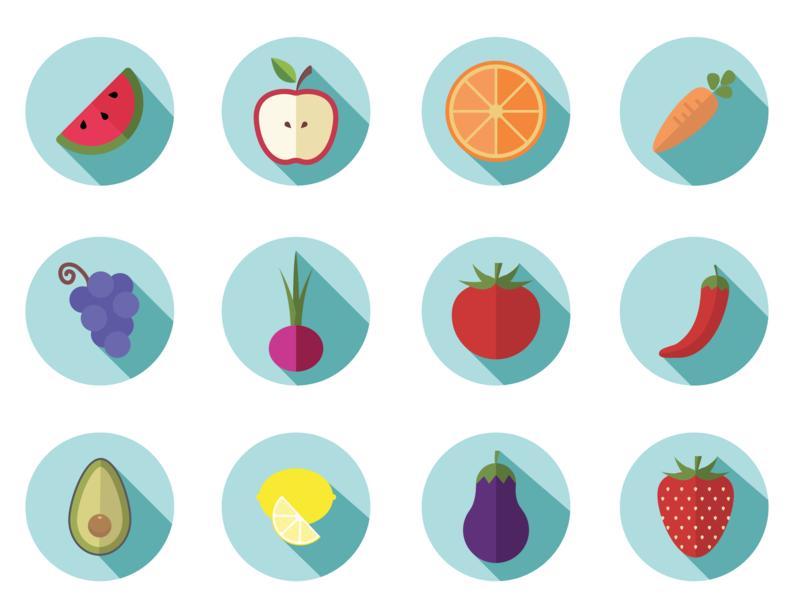 Fruit And Vegetables Flat Art graphic design art adobeillustrator drawing adobe illustrator illustration