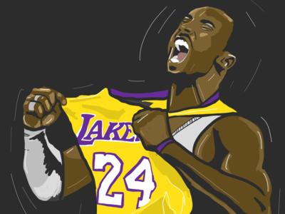 Illustration of Kobe Bryant color art. drawing kobe illustration
