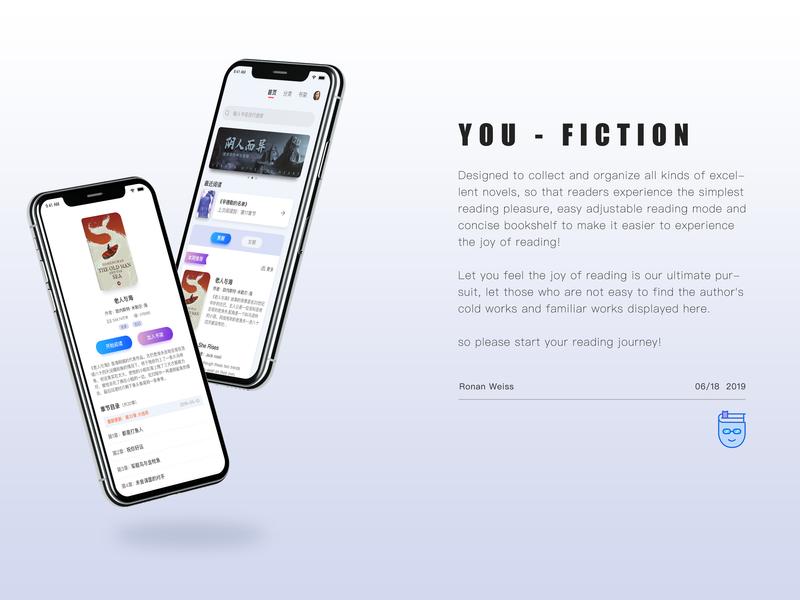 YOU-Fiction logo badge logo design app ui