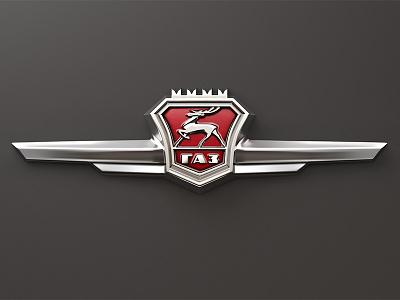 GAZ-21 Volga emblem logo car red chromium embleme volga volga21 gaz