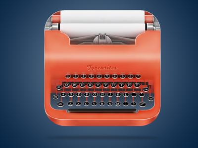 typewriter typewriter red glossy orange icon