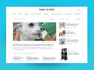 Pets Blog content design interaction read articles clean uiux web blog list pets