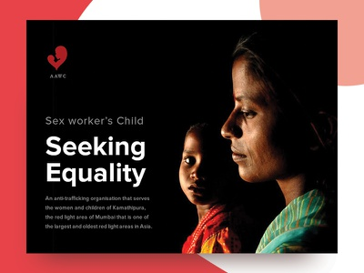 Rights for equality message strong children sex-worker social ngo advertisement web banner