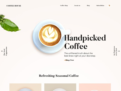 Coffee Landing Page clean serif landing page ui ux coffee