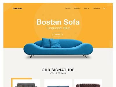Sofa Homepage modern design website yellow innovative contemporary ui ux furniture sofa