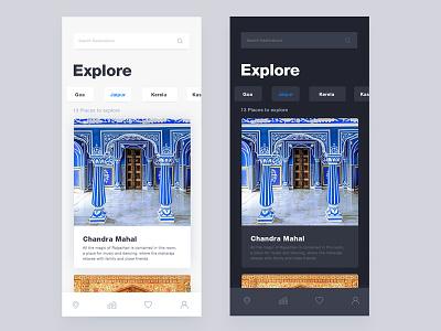 Travel App with Light & Dark Mode minimal clean ui dark and light mode app mobile travel