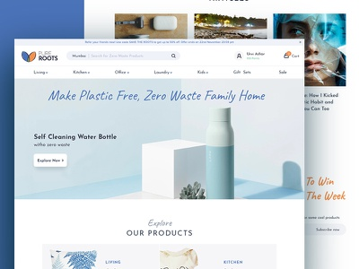 Plastic-free products Ecommerce Website product organics zero-waste plastic free e-commerce shop simple interface concept minimal website ux ui clean