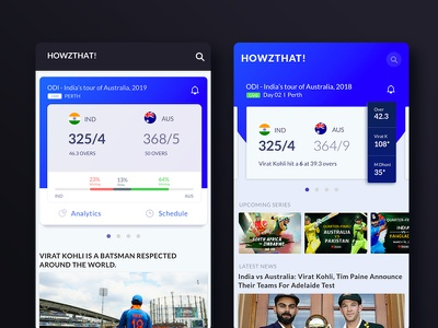 Howz That! android app content design simple clean concept match scorecard app concept mobile ux  ui cricket
