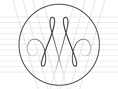 Logo M construct line font typography logo