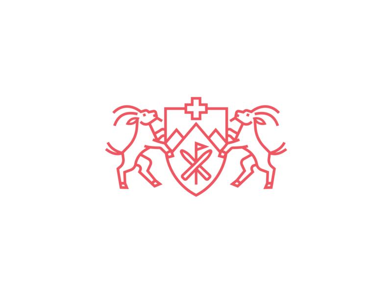 Logo for a ski school in Switzerland coatofarms crest illustrator school switzerland ski logo
