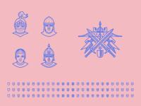 Knight Assets Exploration illustrator outlines chevalier knight