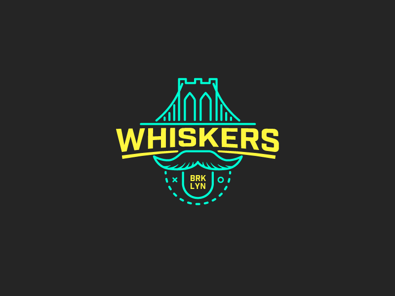 Brooklyn Whiskers Fantasy Basketball Logo brooklyn whiskers fantasy basketball logo neon line lines