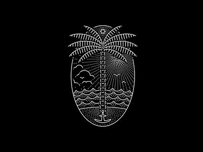 Oceanic (WIP) illustrator water waves palmtree lineart lines island ocean