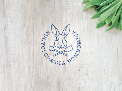 Encyclopædia Nomnomica - Logo for my personal cookbook kitchen cookbook nomnom rabbit cooking logo cooking