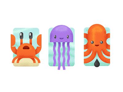 Sea Creatures ocean kawaii characters octopus jellyfish crab creatures sea creatures sea