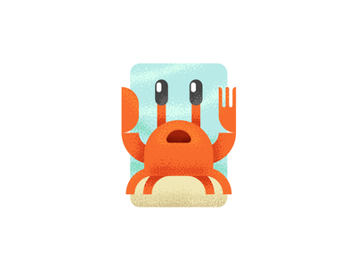 Knife and Fork Crab - As suggested by my son :-) kawaii cute illustrator ocean sea cutlery fork knife crab