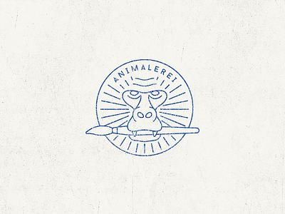 Logo for my animal puns project animalerei animals puns logo monkey brush