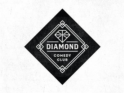 Diamond Comedy Club Logo white black vintage logo club comedy diamond