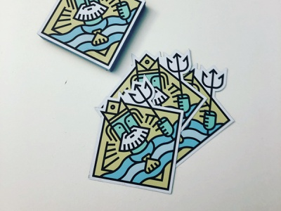 Poseidon Fridge Magnets line art magnet badge poseidon