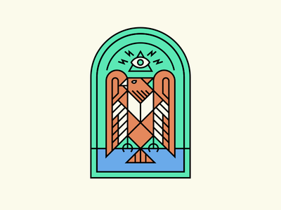 Bird Logo Practice lines lineart practice badge logo bird church window