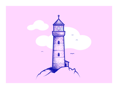 Lighthouse gulls shore sea clouds lineart lines illustration lighthouse