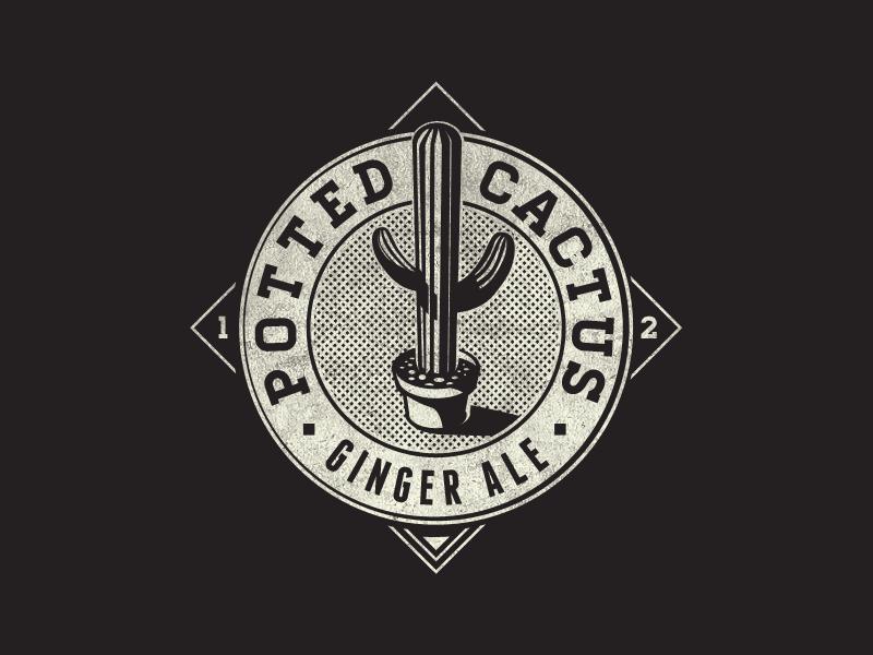 Potted Cactus Ginger Ale Fantasy Logo logo label food vintage ginger ale