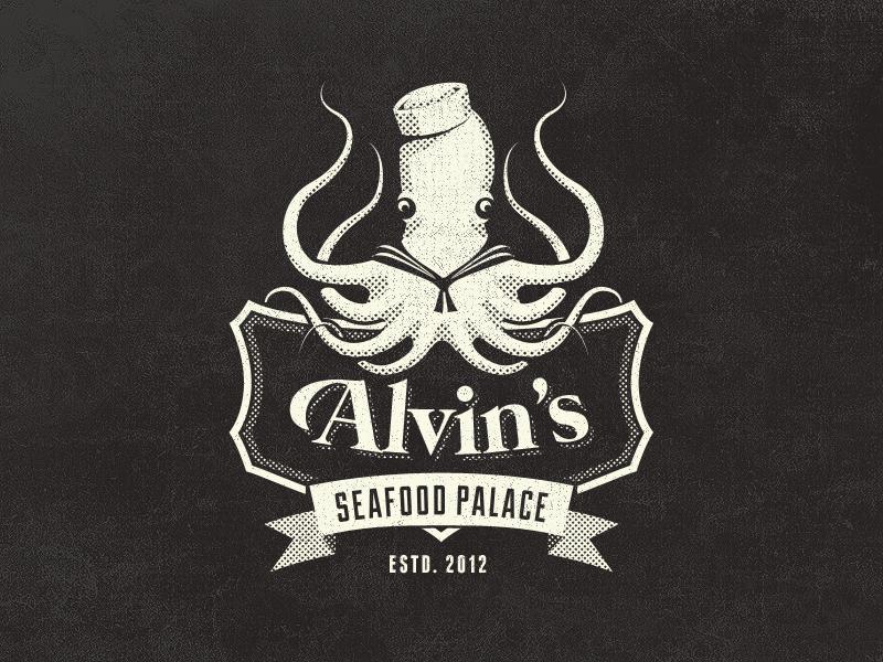 Alvin's Seafood Palace - Vintage Fantasy Logo Design vintage badge logo octopus