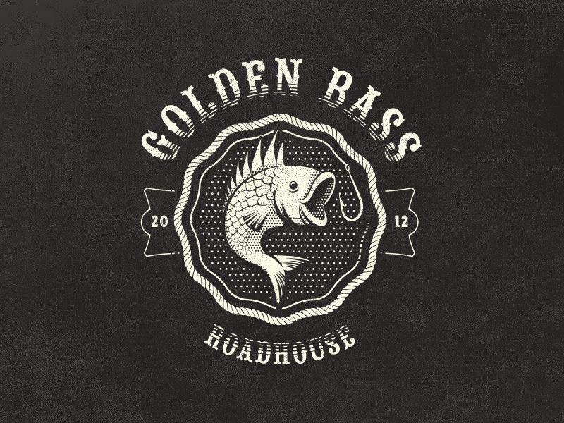 Golden Bass Roadhouse - Fantasy Vintage Logo logo vintage pub roadhouse bass